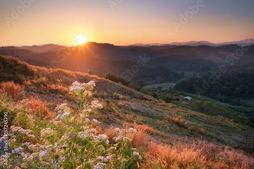 Spoed Foto op Canvas Grijze traf. Sunset view on mountain at Nan province, Thailand.