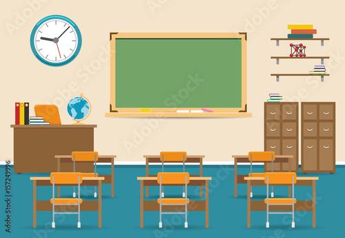 Fotografía  Empty classroom vector illustration