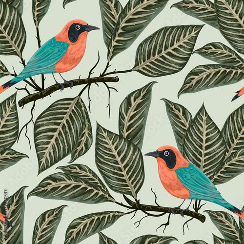 Materiał do szycia Wzór z tropikalnych ptaków i roślin. Egzotycznej flory i fauny. Vintage wektor ilustracja w stylu przypominającym akwarele