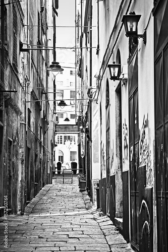Geino, Italy old town narrow pedestrian cobbled street