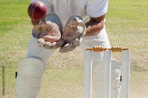 Mid section of wicketkeeper catching ball behind stumps