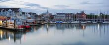 Southampton's Town Quay Marina And Ferry Terminal At Dusk