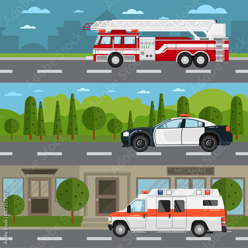 Foto op Aluminium Pixel Fire truck, police and ambulance car on highway. Service auto vehicle, public and emergency transport, urban roadside assistance. Road traffic in countryside and cityscape vector illustration