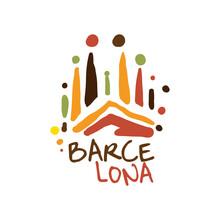 Barcelona Tourism Logo Template Hand Drawn Vector Illustration