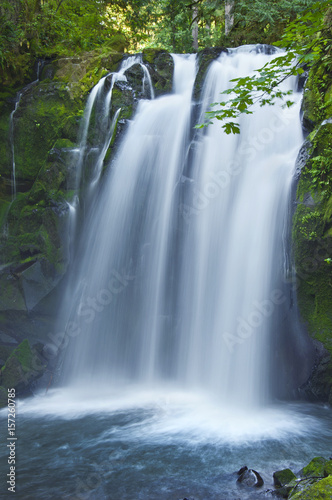 Closeup of Majestic Falls waterfall cascading over mossy rocks in McDowell Park, Oregon Wall mural