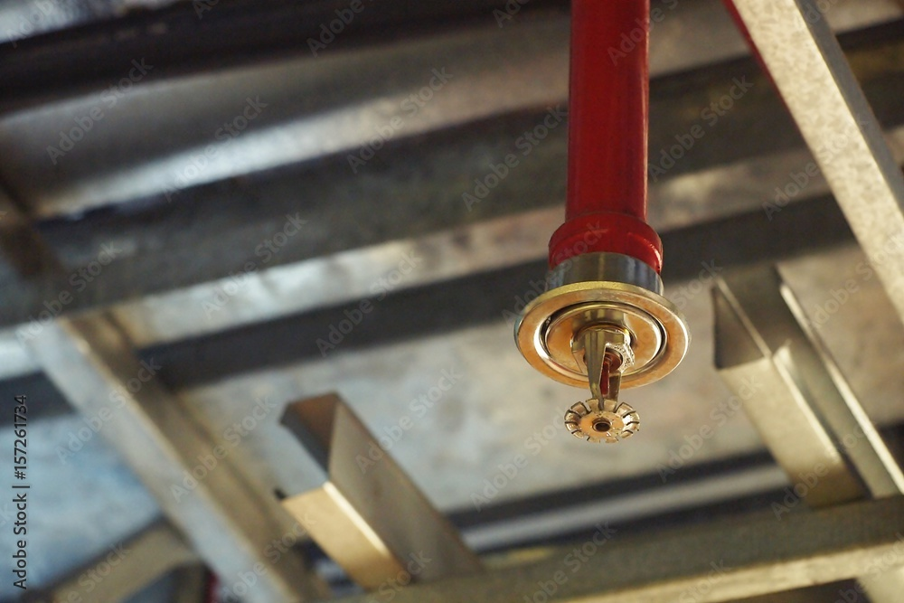 Fototapety, obrazy: Automatic Fire ceiling Sprinkler in red water pipe System