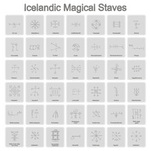 Set Of Monochrome Icons With Icelandic Magical Symbols For Your Design