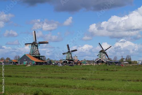 Windmühlen in Zaanse Niederlande Fototapet