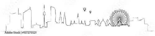 fototapeta na lodówkę Wien Skyline mit Riesenrad Kontur Silhouette Zeichnung abstrakt