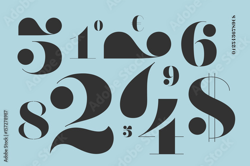 Fotografía  Font of numbers in classical french didot style with contemporary geometric design