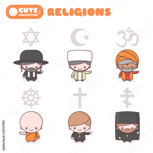 Cute Chibi Kawaii Characters Set People Of Different Religions
