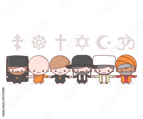 Cute Characters Judaism Rabbi Buddhism Monk Hinduism Brahman