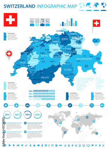 Obraz na plátně Switzerland - map and flag - infographic illustration