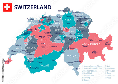 Fotografie, Obraz Switzerland - map and flag – illustration