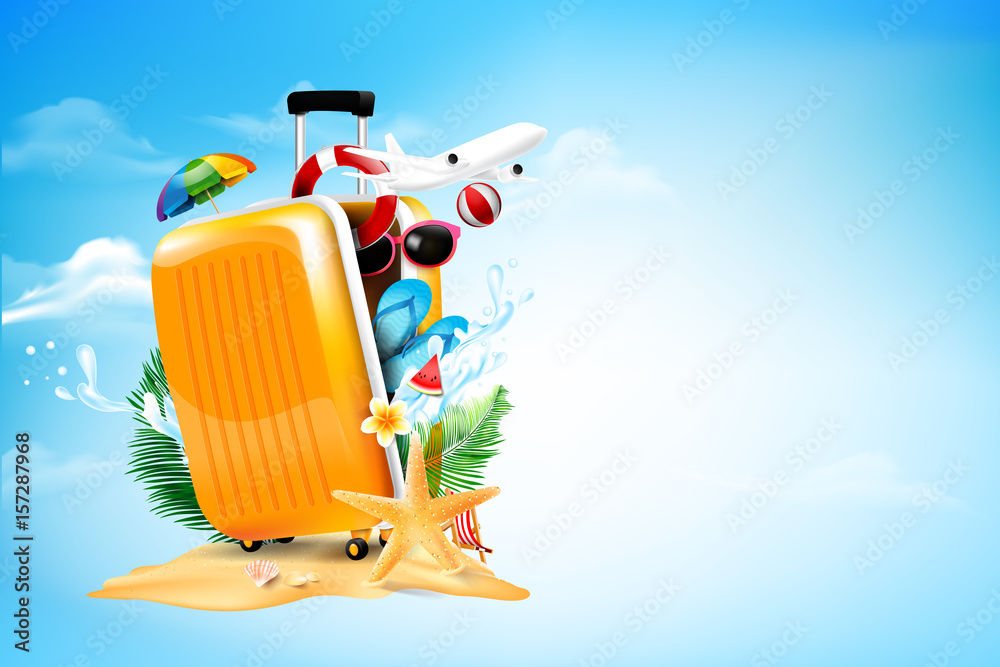Fototapeta Air plane open luggage travel case with Starfish flower palm leaf sand beach element on blue sky and cloud background for summer tour concept vector illustration