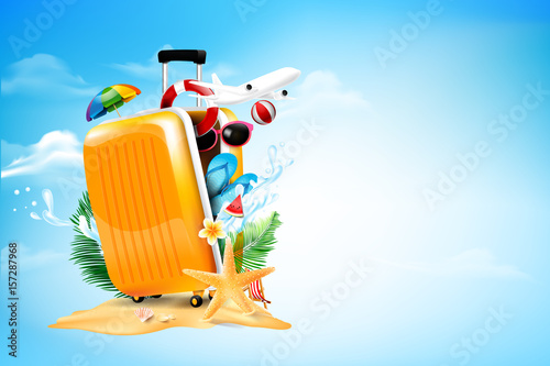 Fototapeta Air plane open luggage travel case with Starfish flower palm leaf sand beach element on blue sky and cloud background for summer tour concept vector illustration obraz