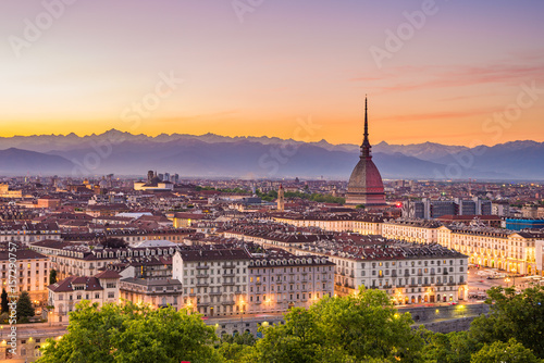 Cityscape of Torino (Turin, Italy) at dusk with colorful moody sky Canvas Print