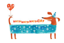 Dog Dachshund In Festive Cap With Balloon Heart. Watercolor Illustration. Hand Drawing