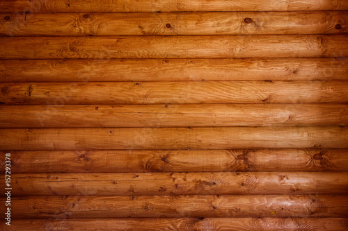 Wooden wall from logs as a background Poster Mural XXL
