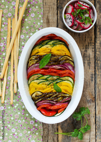 Photo Tian (vegetable casserole) of the five kinds of vegetables.