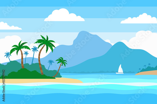 Wall Murals Green coral tropical island in the ocean summer landscape background