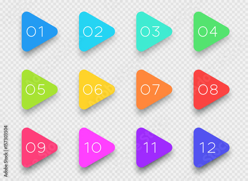Fotografia Number Bullet Point Colorful 3d Triangles 1 to 12 Vector