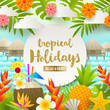 Flat vector design. Tropical holidays and beach vacation illustration.