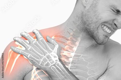 Digital composite of highlighted shoulder pain of man Tapéta, Fotótapéta