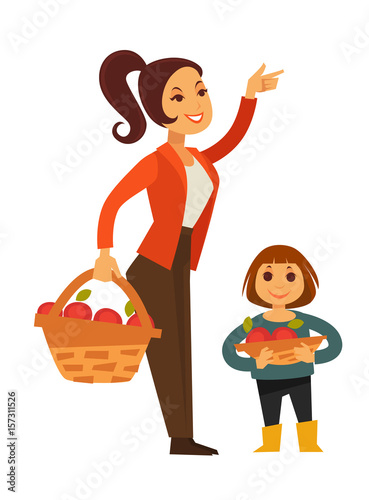 Fotografie, Obraz  Woman and child gather apple fruit harvest in basket vector flat icons