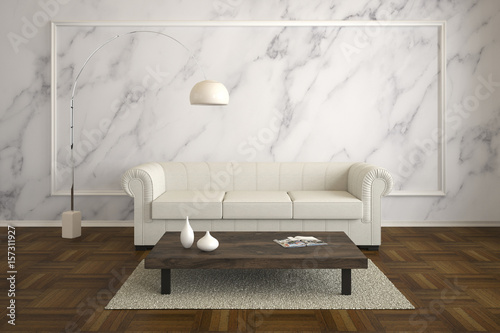 Fototapeta  rustic living room with marble wall