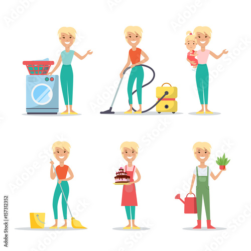 flat woman wash clean cook babysitting vector household chores