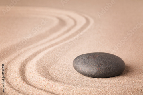 Acrylic Prints Stones in Sand zen meditation sand and stone garden for relaxation harmony and concentration. Yoga or spa wellness background.
