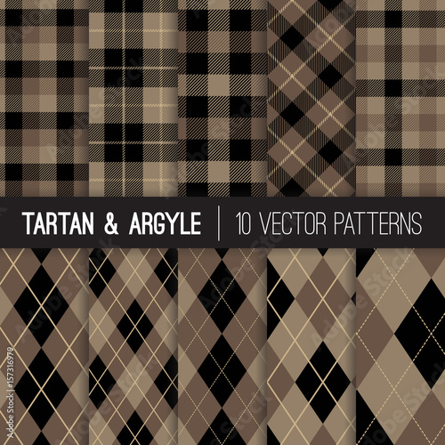 Brown Argyle, Tartan and Gingham Plaid Vector Patterns Canvas Print