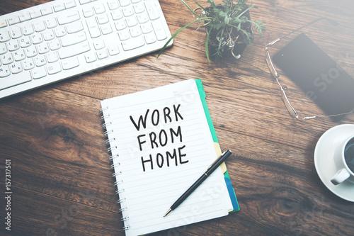 Photo  notebook  written work from home text