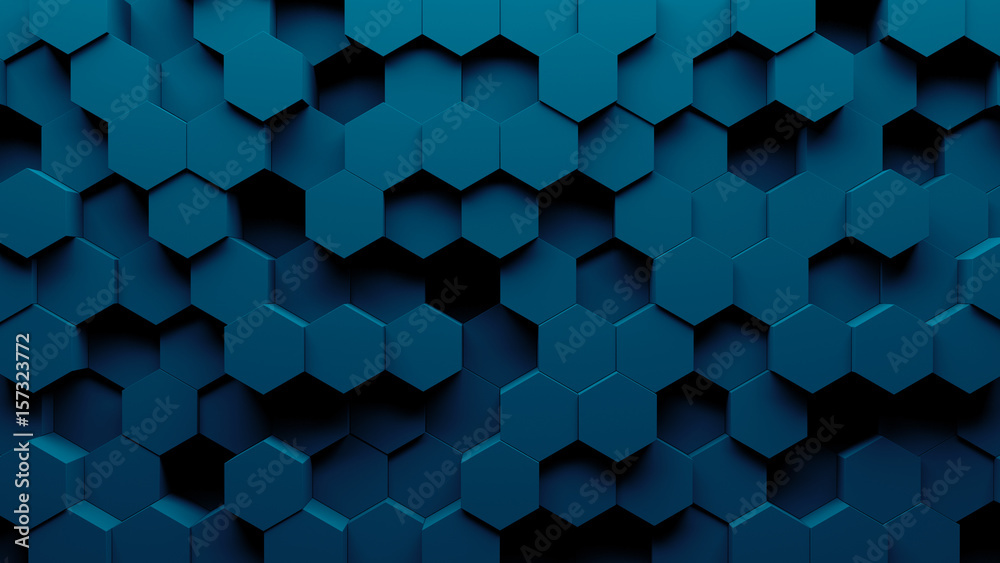 Fototapety, obrazy: Abstract hexagon geometry background. 3d render of simple primitives with six angles in front. Dark lighting.