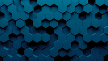 Abstract Hexagon Geometry Background. 3d Render Of Simple Primitives With Six Angles In Front. Dark Lighting.
