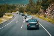 Vehicles in no passing zone. Traffic on motorway