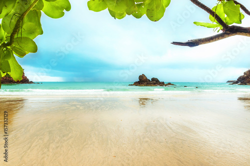Montage in der Fensternische Tropical strand beach view, bay view, tourist attraction in Bang Saphan Noi Prachuap Khiri Khan Province Thailand. This place is called Ao Bo Thonglang.