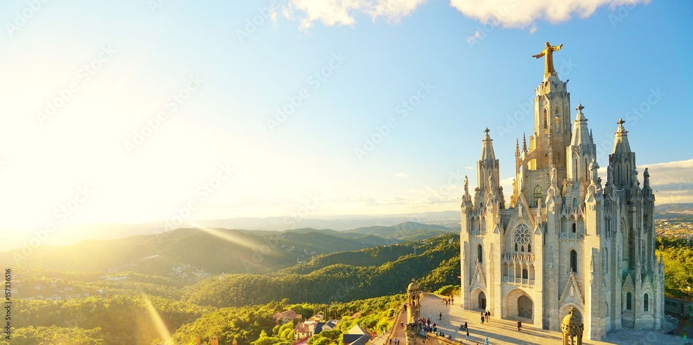Photo  Temple Sacred Heart of Jesus on Tibidabo in Barcelona in Spain.