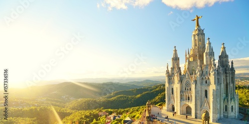 Photo Stands Barcelona Temple Sacred Heart of Jesus on Tibidabo in Barcelona in Spain.