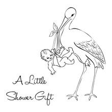 Stork With New Baby -  Baby Shower Invitation -  Greeting Card Background - Vector Illustration