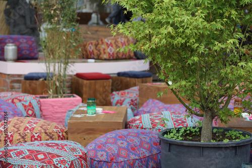 Boho, Bohemian style furniture, colorful poufs Wallpaper Mural