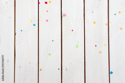 Background white wood and confetti