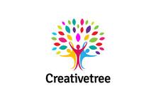 Creative Colorful People Tree Logo Design Illustration