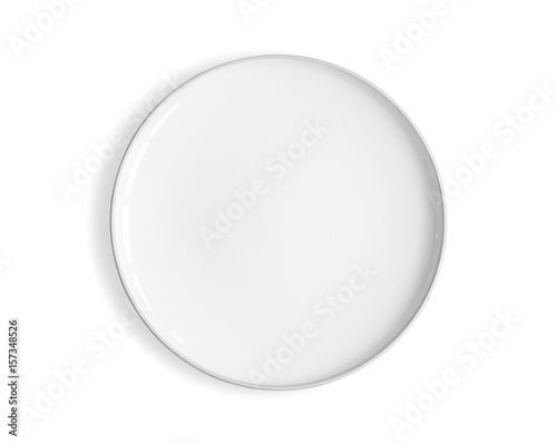 Top view of empty white food plate isolated on a white background.