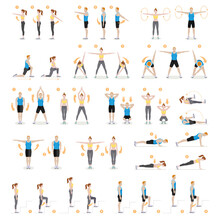 Man And Woman Workout Fitness,...