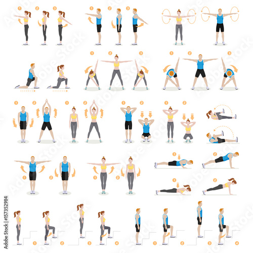 Photo Man and woman workout fitness, aerobic and exercises