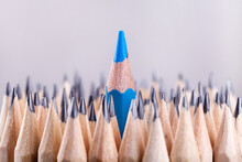 One Sharpened Blue Pencil Among Many Ones