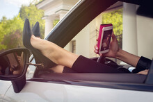 Woman Doing Selfie In The Car