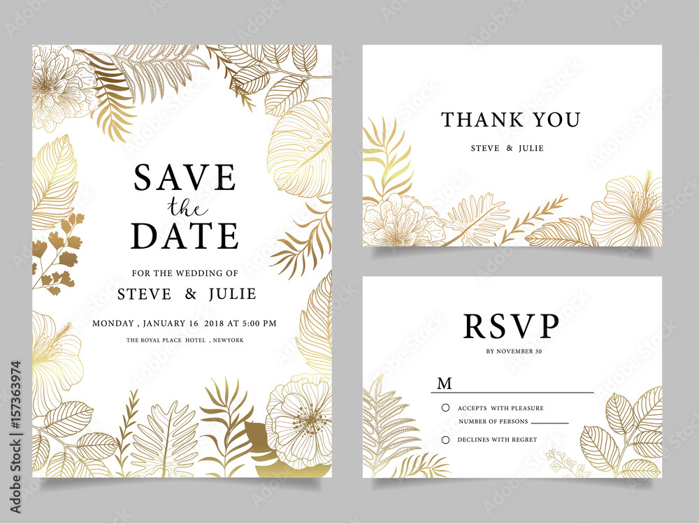 Fototapeta wedding invitation card with  flower Templates